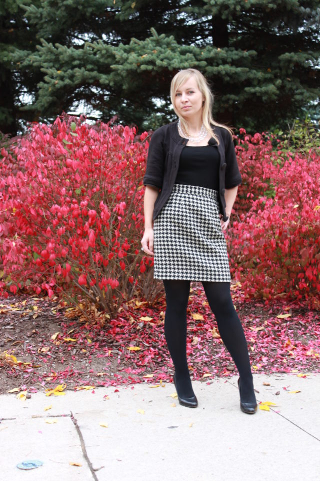 vintage houndstooth skirt and crystal necklace
