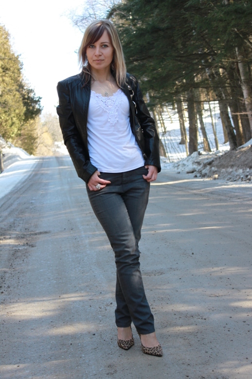 Karl Lagerfeld jeans with biker jacket and leopard pumps
