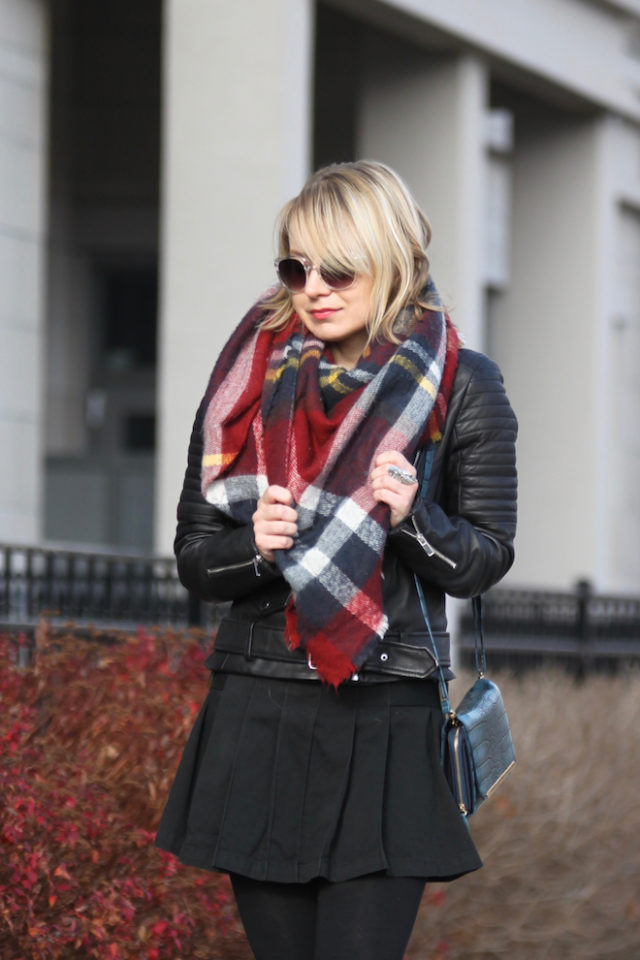 pleated skirt with plaid blanket scarf