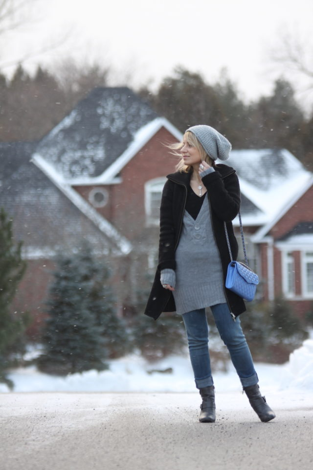 dress over jeans winter style