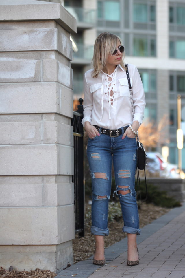 lace up top with ripped jeans