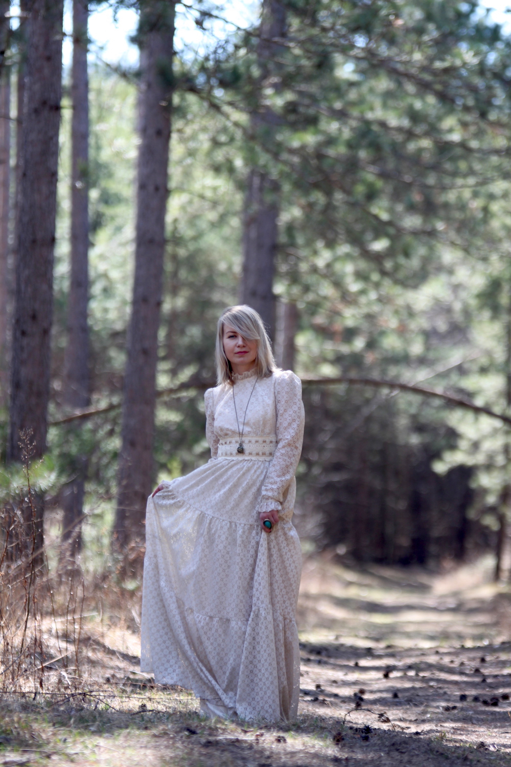 70's vintage lace gown in forest