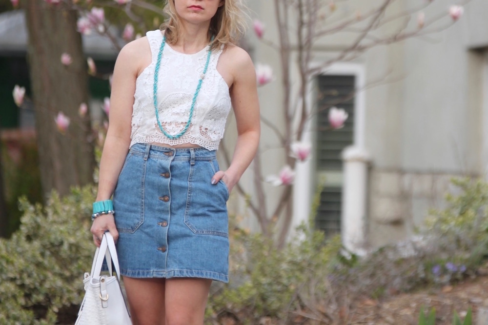 lace crop top with button front denim skirt and ankle boots