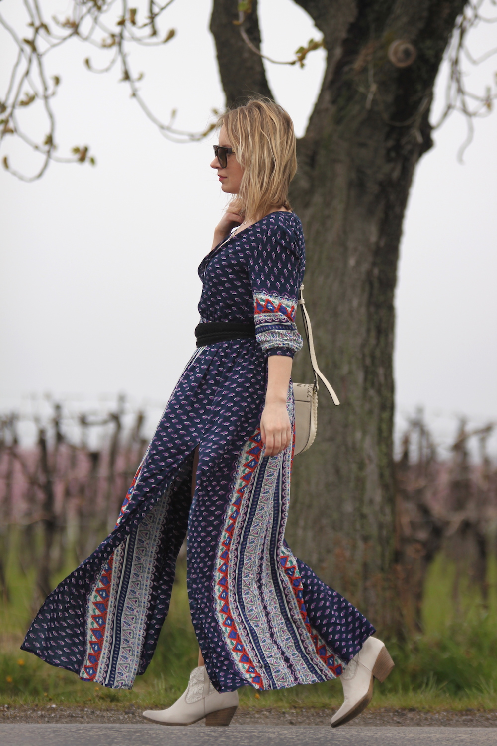 retro print maxi dress with cowboy ankle boots