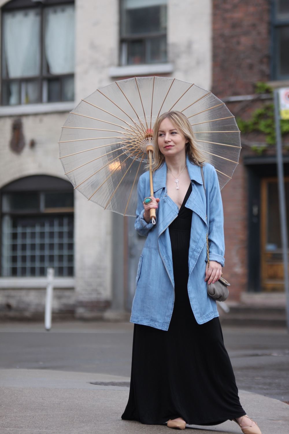 chambray jacket with umbrella spring outfit
