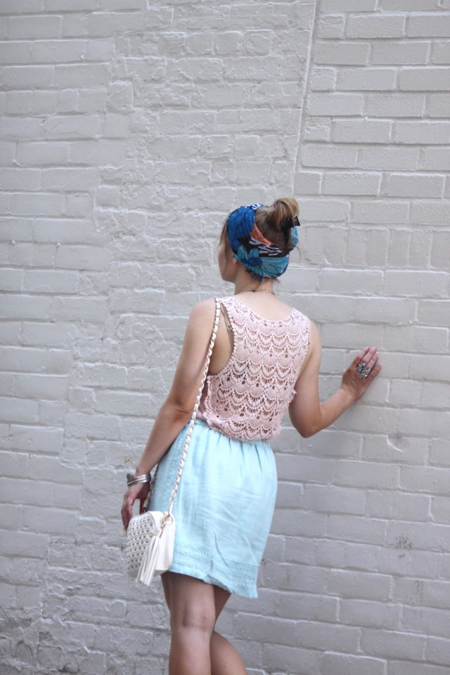 thrifted look featuring head scarf and embroidered detailing