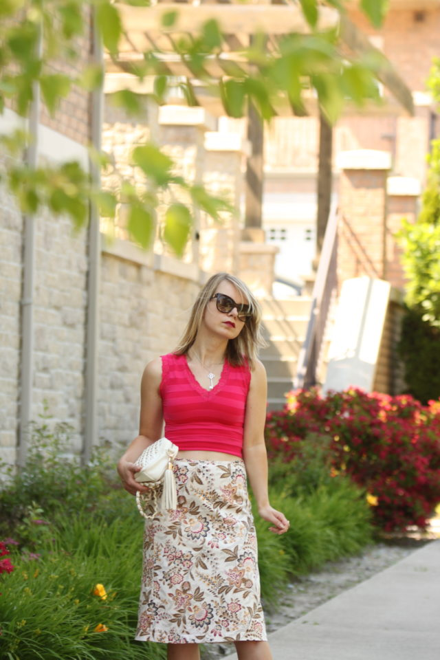 baroque floral print skirt