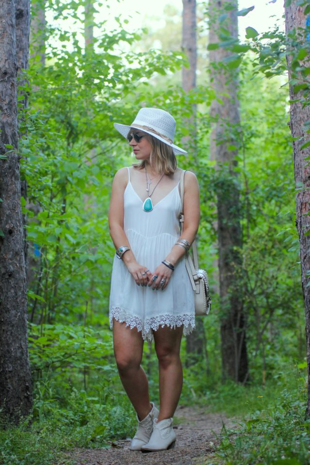 lace trimmed white romper