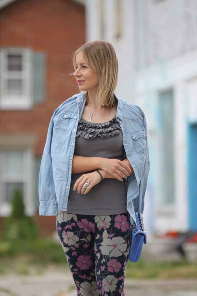 ruffle tank with floral pants and chambray shirt