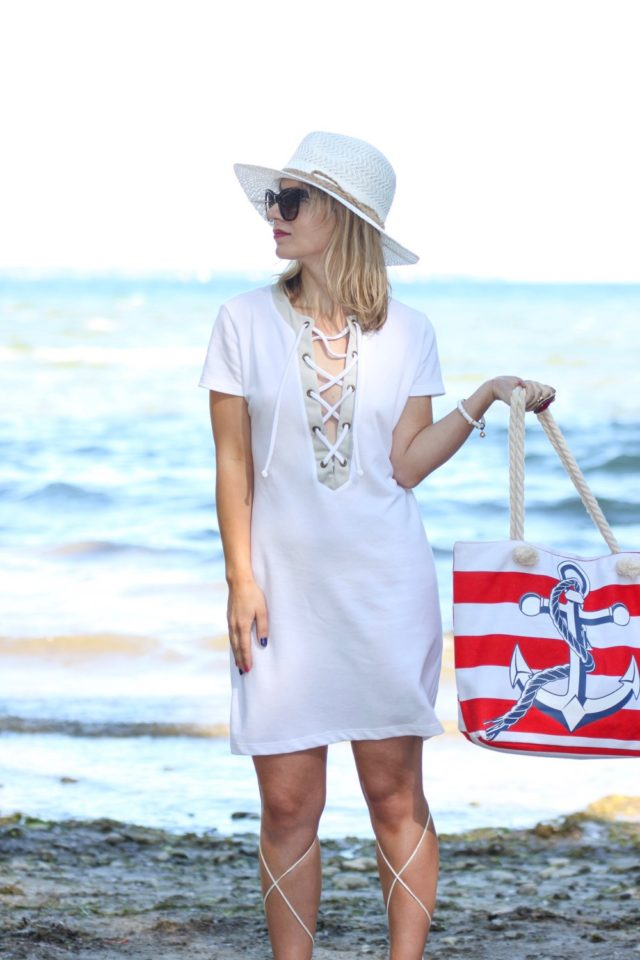lace up front white summer dress