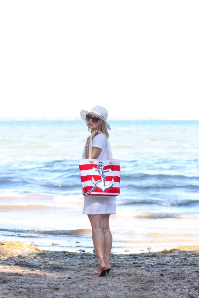 red and white nautical tote