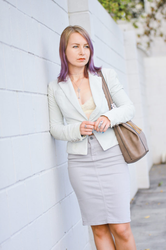 velvet blazer with bralette