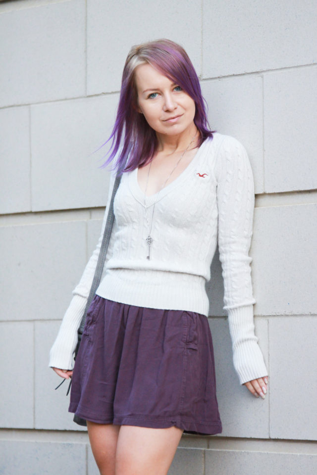 recycled knit sweater and skater skirt