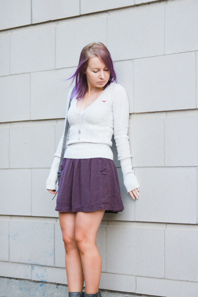 recycled knit sweater with skater skirt
