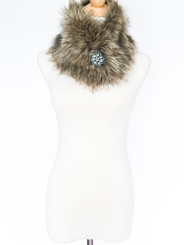 how to style a fur stole with a brooch
