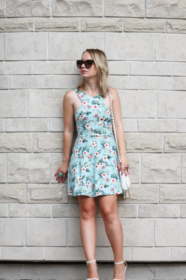 floral print dress with cutouts