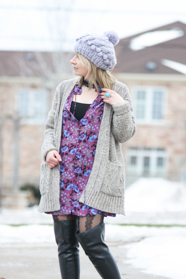 cardigan with free people tunic