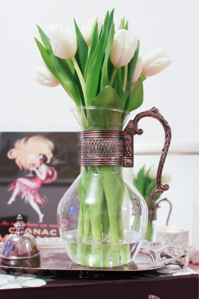 vintage pitcher used as vase