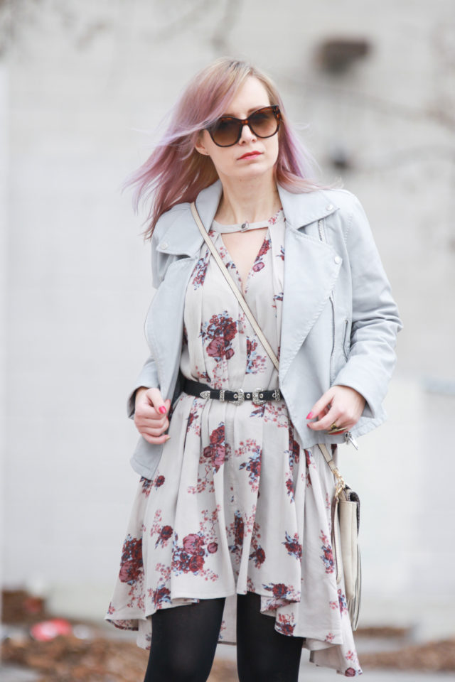 Nordstrom outfit with biker jacket and Free People dress