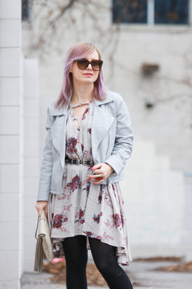Nordstrom Blank NYC biker jacket with Free People dress