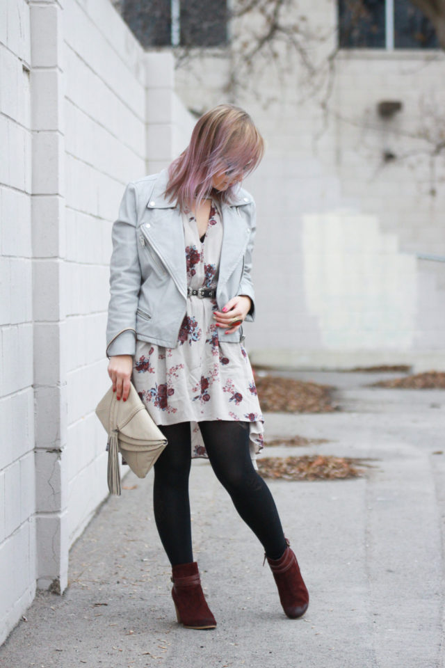 Nordstrom biker jacket with Free People dress