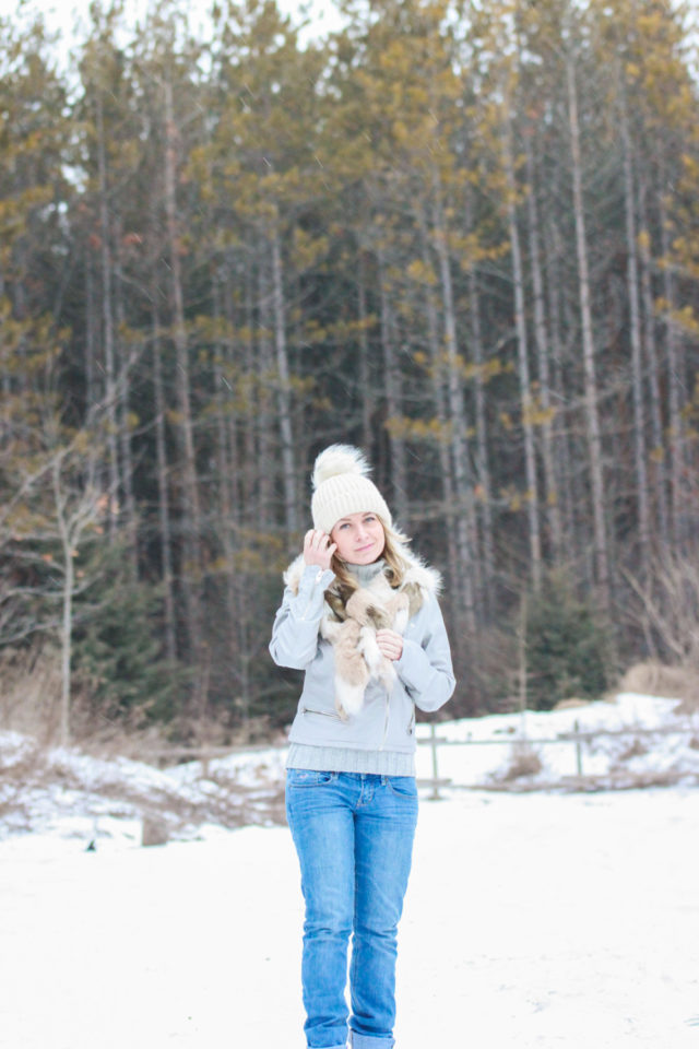 topshop pom pom hat with guess fur scarf