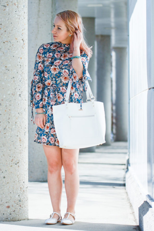 topshop peony print minidress with white tote bag