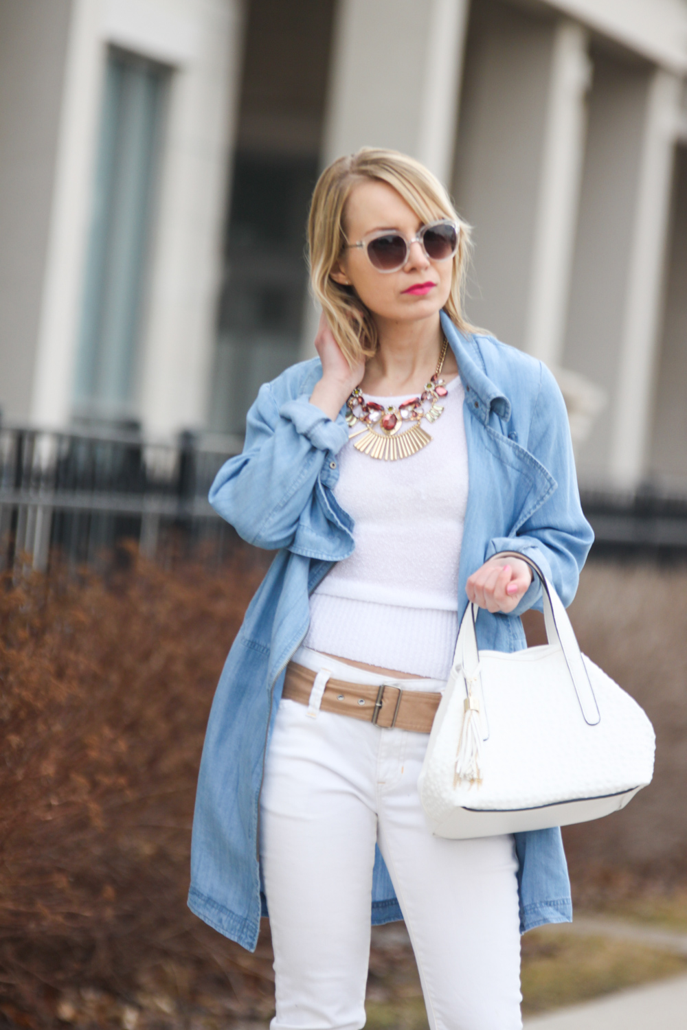 spring trends gentle fawn chambray waterfall jacket with white cropped jeans