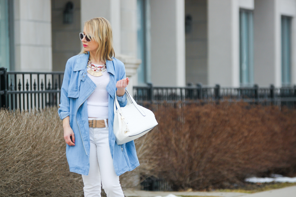 spring trends gentle fawn chambray jacket with white cropped jeans