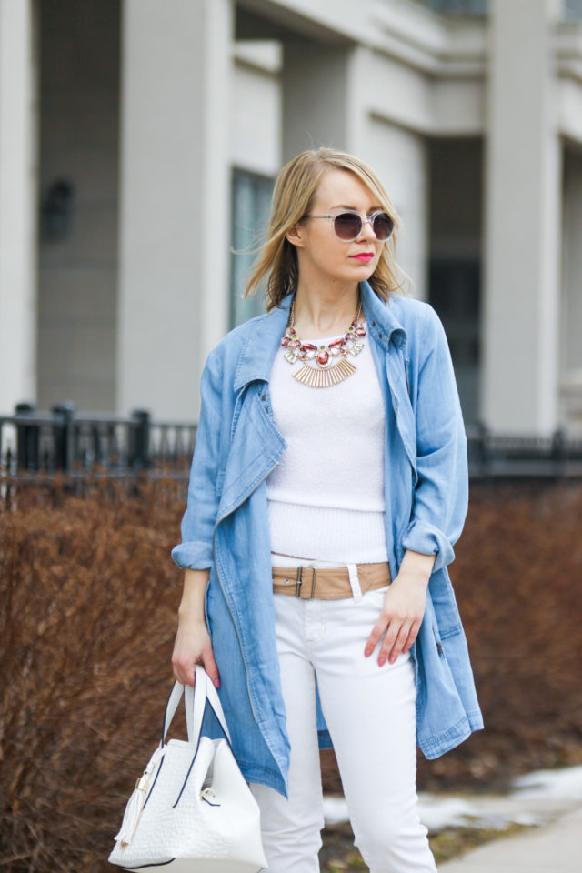 spring trends gentle fawn chambray waterfall jacket with cropped white jeans