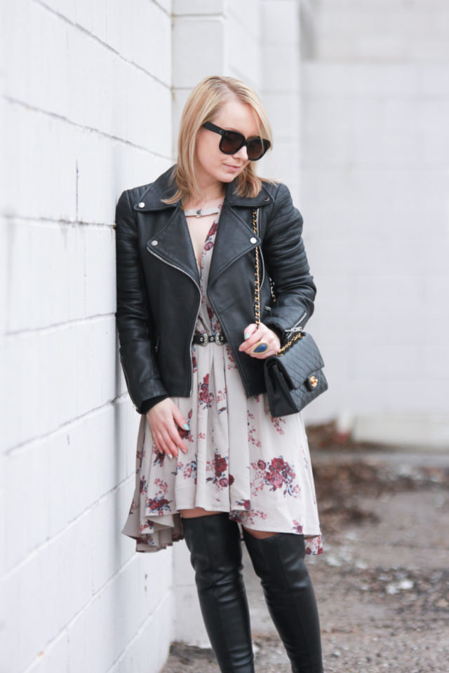 Free People mini dress with vintage Chanel bag