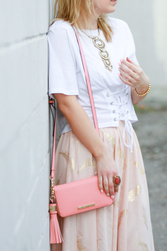 corset top with blush pink midi skirt