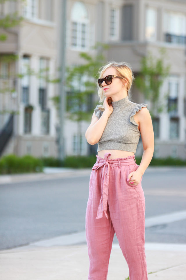 pink paper bag pants with ruffle crop top