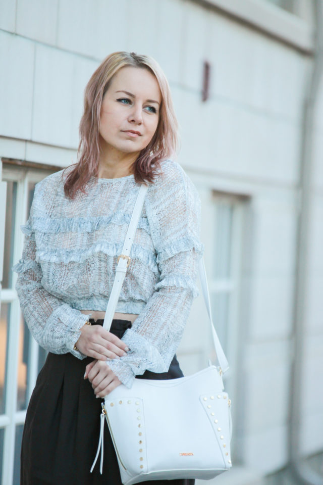 zara ruffle blouse and pink blonde hair