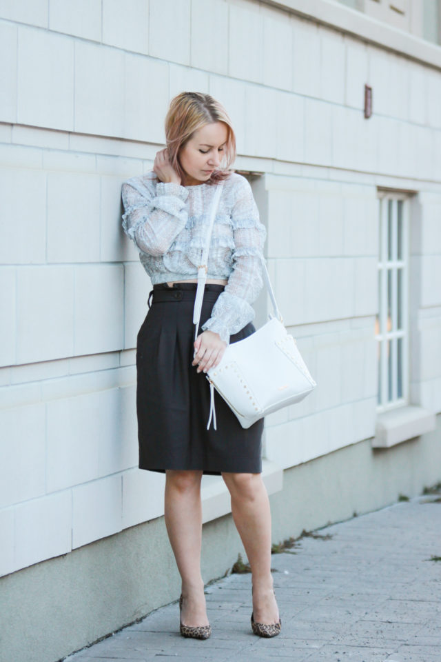 zara ruffle blouse with bcbg skirt and leopard pumps