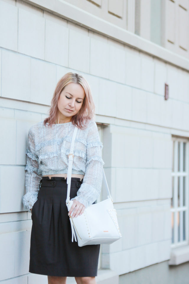 ruffle blouse and pink hair