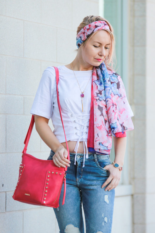 Pinkstix floral scarf and pink bag
