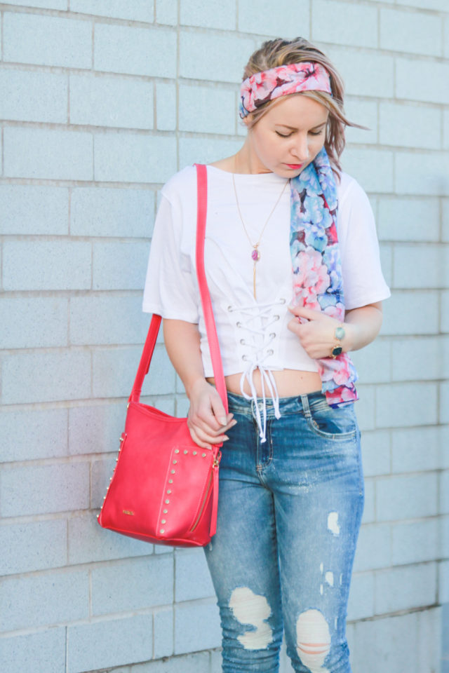 Pinkstix pink floral scarf and bag with corset top and ripped jeans