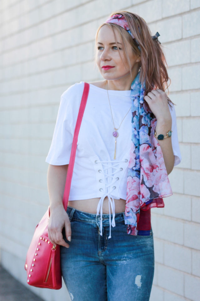 Pinkstix bag with pink floral headscarf and corset top