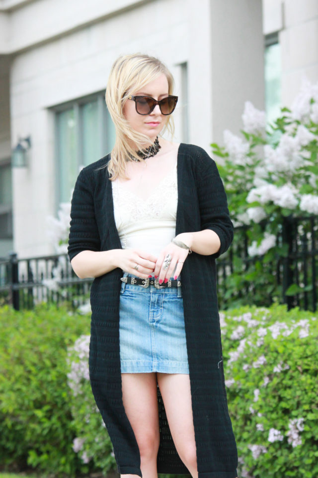 Pink Martini duster sweater and denim skirt