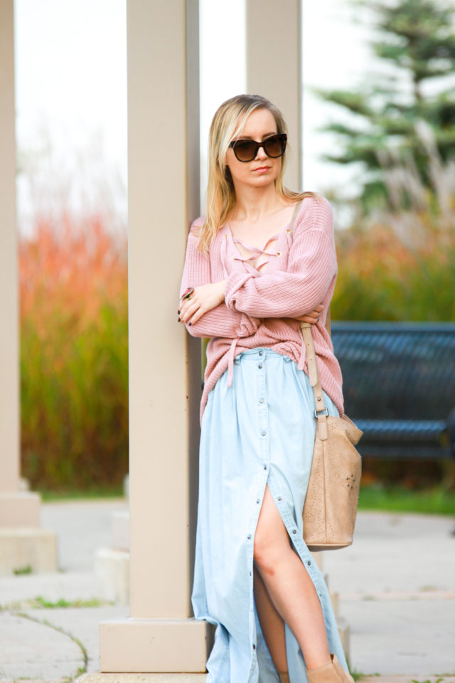 guess lace-up knit sweater with pistola denim chambray maxi skirt