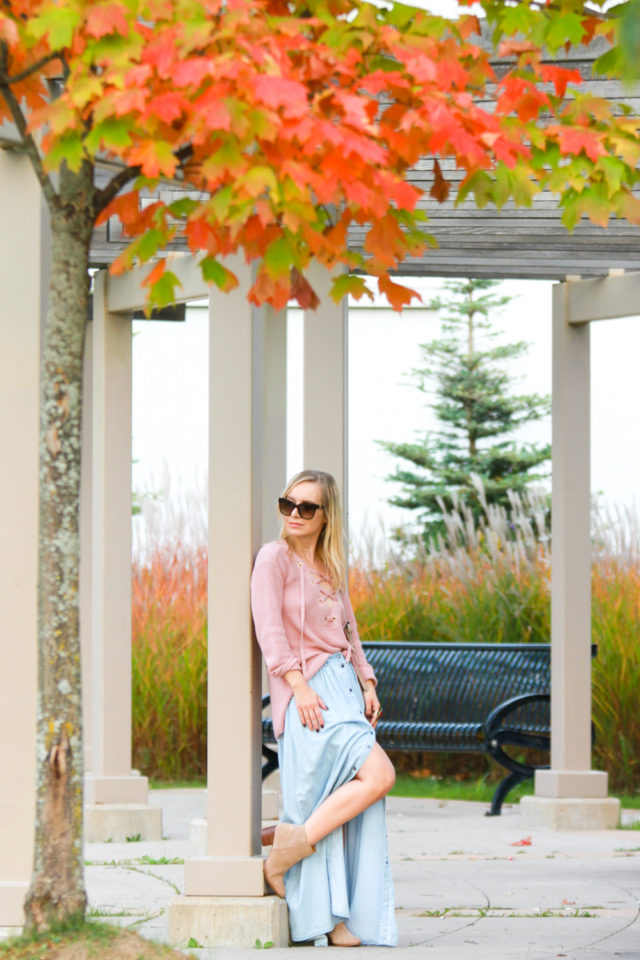 lace-up knit sweater with chambray maxi skirt
