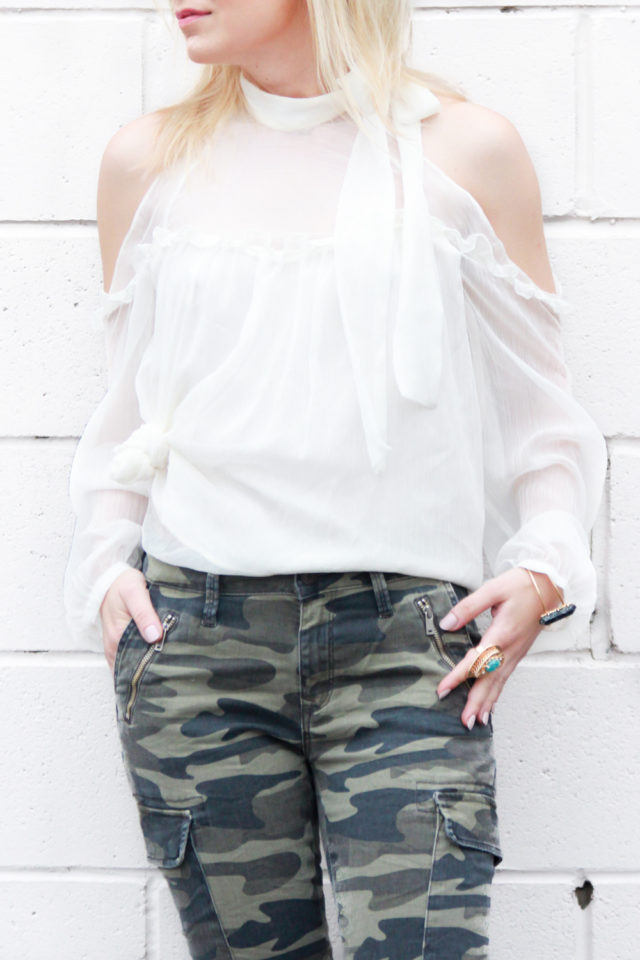 cold shoulder top with camo jeans