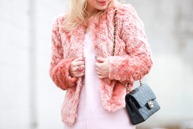 pink sweater dress and coat