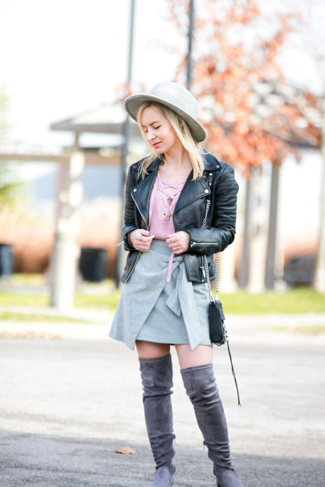 Wilfred wrap front skirt with over the knee boots