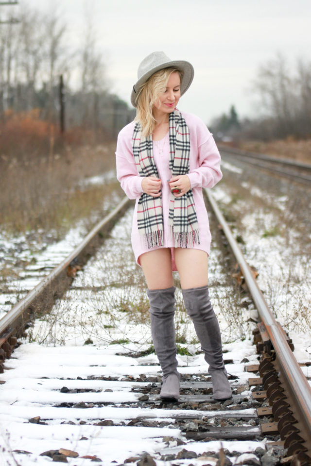 topshop sweater dress and over the knee boots